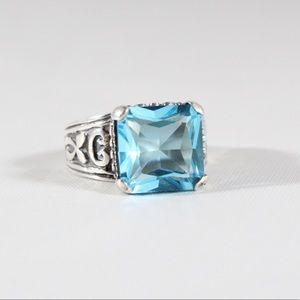 Jewelry - Sterling Silver Scroll Blue Quartz Ring 7.75